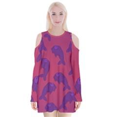 Fluffy Stuffie Animals Purple Pink Velvet Long Sleeve Shoulder Cutout Dress