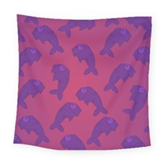 Fluffy Stuffie Animals Purple Pink Square Tapestry (large)