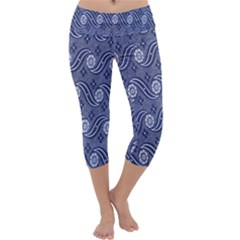 Flower Chevron Wave Blue Capri Yoga Leggings