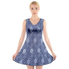 Flower Chevron Wave Blue V-Neck Sleeveless Skater Dress