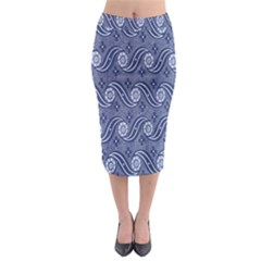 Flower Chevron Wave Blue Midi Pencil Skirt