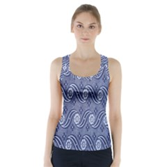 Flower Chevron Wave Blue Racer Back Sports Top