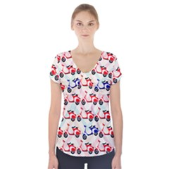 Motorcycle Short Sleeve Front Detail Top