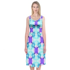 Background Colour Flower Rainbow Midi Sleeveless Dress