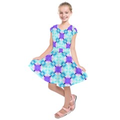 Background Colour Flower Rainbow Kids  Short Sleeve Dress