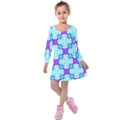 Background Colour Flower Rainbow Kids  Long Sleeve Velvet Dress