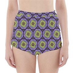 Background Colour Star Flower Purple Yellow High-Waisted Bikini Bottoms