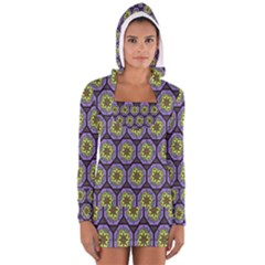 Background Colour Star Flower Purple Yellow Women s Long Sleeve Hooded T-shirt
