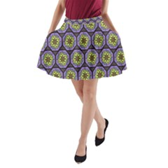 Background Colour Star Flower Purple Yellow A-Line Pocket Skirt