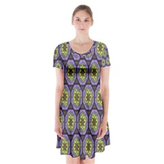 Background Colour Star Flower Purple Yellow Short Sleeve V-neck Flare Dress