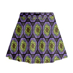 Background Colour Star Flower Purple Yellow Mini Flare Skirt