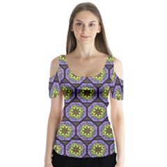 Background Colour Star Flower Purple Yellow Butterfly Sleeve Cutout Tee