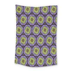 Background Colour Star Flower Purple Yellow Small Tapestry