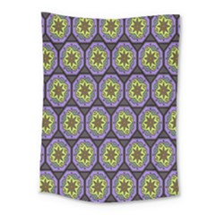 Background Colour Star Flower Purple Yellow Medium Tapestry