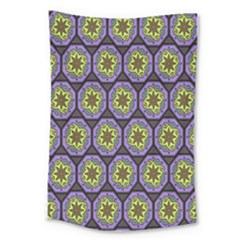 Background Colour Star Flower Purple Yellow Large Tapestry