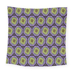 Background Colour Star Flower Purple Yellow Square Tapestry (large)