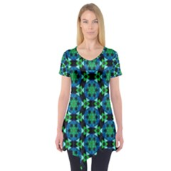 Background Star Colour Green Blue Short Sleeve Tunic