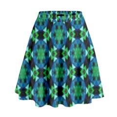 Background Star Colour Green Blue High Waist Skirt