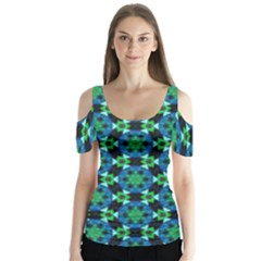 Background Star Colour Green Blue Butterfly Sleeve Cutout Tee