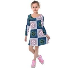 Background Colour Flower Box Kids  Long Sleeve Velvet Dress