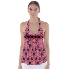 Background Colour Star Pink Flower Babydoll Tankini Top