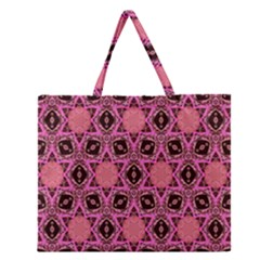 Background Colour Star Pink Flower Zipper Large Tote Bag