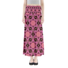 Background Colour Star Pink Flower Maxi Skirts