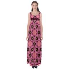 Background Colour Star Pink Flower Empire Waist Maxi Dress