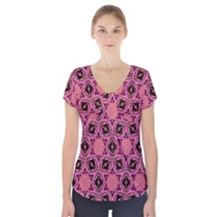 Background Colour Star Pink Flower Short Sleeve Front Detail Top