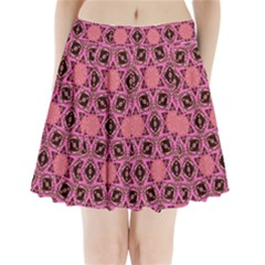 Background Colour Star Pink Flower Pleated Mini Skirt