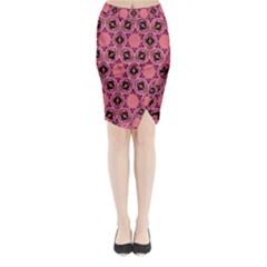 Background Colour Star Pink Flower Midi Wrap Pencil Skirt