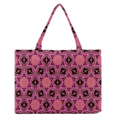 Background Colour Star Pink Flower Medium Zipper Tote Bag