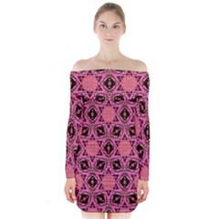 Background Colour Star Pink Flower Long Sleeve Off Shoulder Dress