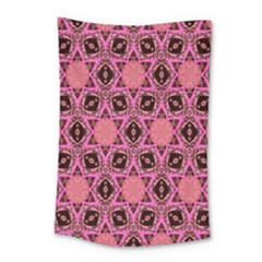 Background Colour Star Pink Flower Small Tapestry