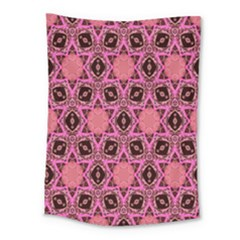 Background Colour Star Pink Flower Medium Tapestry