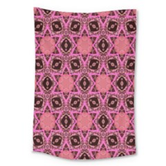Background Colour Star Pink Flower Large Tapestry