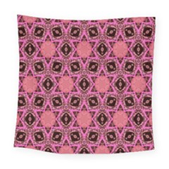 Background Colour Star Pink Flower Square Tapestry (large)