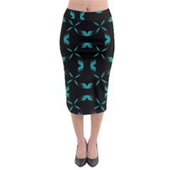 Background Wave Blue Midi Pencil Skirt