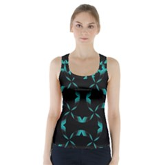 Background Wave Blue Racer Back Sports Top