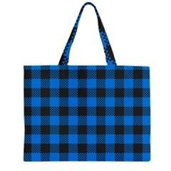 Black Blue Check Woven Fabric Large Tote Bag