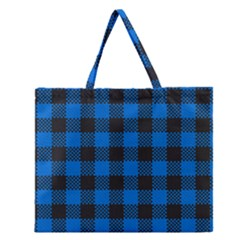 Black Blue Check Woven Fabric Zipper Large Tote Bag