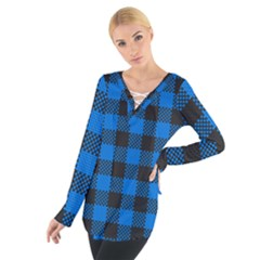 Black Blue Check Woven Fabric Women s Tie Up Tee