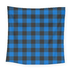 Black Blue Check Woven Fabric Square Tapestry (large)