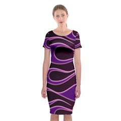Bright Purple Flag Classic Short Sleeve Midi Dress