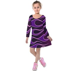 Bright Purple Flag Kids  Long Sleeve Velvet Dress