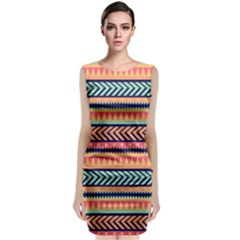 Chevron Wave Classic Sleeveless Midi Dress