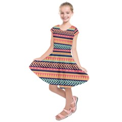 Chevron Wave Kids  Short Sleeve Dress
