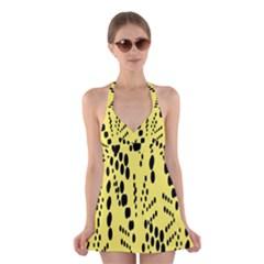 Circular Dot Selections Circle Yellow Halter Swimsuit Dress