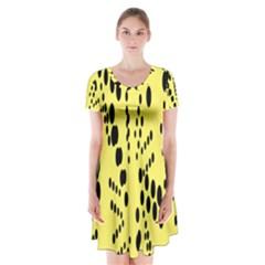Circular Dot Selections Circle Yellow Short Sleeve V-neck Flare Dress