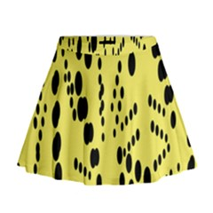 Circular Dot Selections Circle Yellow Mini Flare Skirt